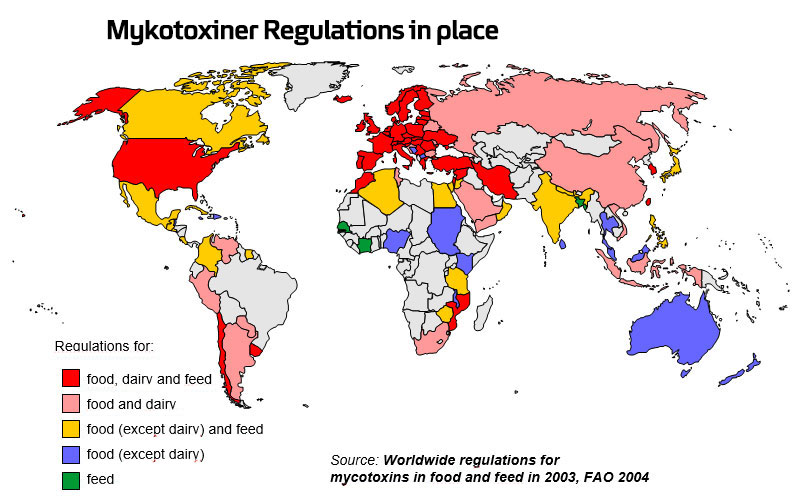 Mycotoxin Regulations in Place Map